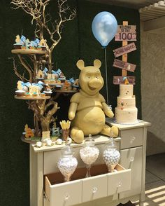 Classic Winnie The Pooh Rent Our Garden Props. Tree, Grass Backdrop, Vintage Dresser, Directional Sign, Classic Pooh Visit www.PlatinumRentalProps.com for Pricing. 310-357-3900 SET UP: @platinumcandybuffets