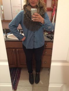Black skinny jeans or leggings of choice, chambray shirt from Old Navy, two-toned fringe scarf from Zulilly, brown Hunter rain booties. #ootd