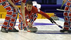 Norway skip Thomas Ulsrud delivers his stone during play against Denmark at the World Men's Curling Championship 2012 in Basel. ARND WIEGMANN/REUTERS