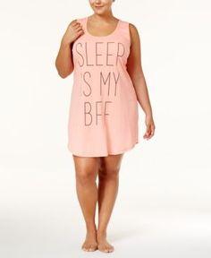 Jenni by Jennifer Moore Plus Size Printed Knit Sleepshirt, Only at Macy's - Orange 1X
