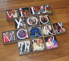WILL YoU MARRY ME? Personalized Photo Blocks- PRoPOSE with PiCTURES of you and your sweetheart Waste Not Recycled Art