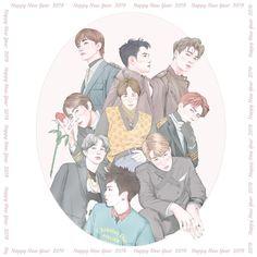 Exo Wallpaper Hd, Exo Stickers, Exo For Life, Exo Anime, Exo Group, Exo Fan Art, Exo Lockscreen, Kpop Drawings, Exo Memes