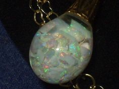 LARGE FIERY VINTAGE HORACE WELCH 14K GOLD FLOATING OPAL PENDANT NECKLACE