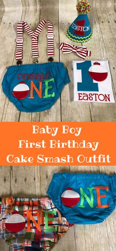 Throw your baby boy a first birthday fishing party!  With this adorable cake smash outfit he will be fishing in no time!  Personalize with babies name.  #affiliate #babyboy #cakesmash
