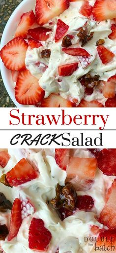 This is absolutely the BEST potluck dessert salad I have everh had! IF you love … This is absolutely the BEST potluck dessert salad I have everh had! IF you love strawberries, then this strawberriy dessert salad with toffee will make your tastebuds sing! Dessert Crepes, Dessert Salads, Fruit Salad Recipes, Fruit Salads, Strawberry Dessert Recipes, Jello Salads, Strawberry Salads, Best Fruit Salad, Fruit Dessert