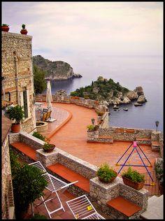 Terrazza di Taormina, Sicilia, Italia