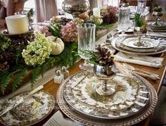 Far Above Rubies: Giving thanks Friendly Village Dishes, Fall Table Settings, Beautiful Table Settings, Place Settings, Thanksgiving Tablescapes, Thanksgiving Table Settings, Thanksgiving Dinnerware, Rustic Thanksgiving, Holiday Tables