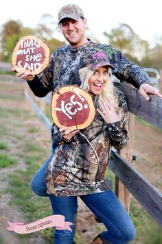 Camouflage engagement pictures. Camouflage engagement session. Hunting season. She said yes. That's what she said. Love. -Brittany Evans. #frozenexposurephotography