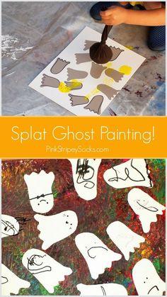 Make Halloween Ghost Splat Painting! Great active and fun Halloween craft! #creativepreschoolers