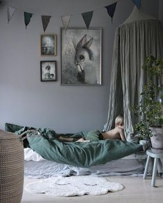 The most calming bedroom in gorgeous shades of grey & green: A stylish colour combo for boys or girls - Petit & Small Bedroom Green, Baby Bedroom, Girls Bedroom, Canopy Bedroom, Childrens Bedroom, Bedrooms, Green Kids Rooms, Kids Room Design, Deco Design