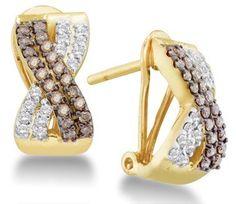 Chocolate Brown Diamond Earring Studs 14k Yellow Gold (1/2 Carat) Jewel Roses, http://www.amazon.com/dp/B005GBWAG0/ref=cm_sw_r_pi_dp_ARpvrb0SD6XKY