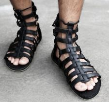 New Mens Runway Custom Shoes Gladiator Leather Strap Sandals