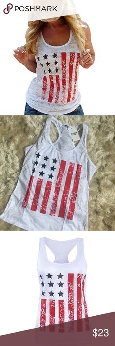 """💕NWT AMERICAN FLAG TANK •NWT •Smoke free home  •I do not model clothing items  •Measures 34.6"""" bust/24.8"""" length  •semi-sheer material •No trades/holds Tops Tank Tops"""