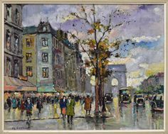 Lot: M. VERNIER (FRENCH, 20TH C.) PARIS STREET SCENE, Lot Number: 0865, Starting Bid: $80, Auctioneer: Austin Auction Gallery, Auction: DAY 2 ANTIQUES, FINE ART, JEWELRY, GOLD COINS, Date: July 23rd, 2017 EDT