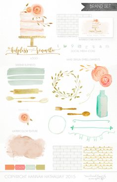 Brand Set - Pre Made Wedding Cake Baking Logo - Bakery Logo - Wedding Branding - Flower Logo - Pink Watercolor Painted Logo (Item #140BK) by HappilyEverAfterEtsy on Etsy https://www.etsy.com/listing/270633890/brand-set-pre-made-wedding-cake-baking