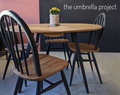 Ercol dining set comprising of refurbished 384 table and 4 X 400 chairs. Natural and Annie Sloan Chalkpaint® Athenian Black. Local Delivery or Collection. Ercol Dining Table, Painted Dining Chairs, Dining Set, Black Kitchen Chairs, Painting Kitchen Chairs, Kitchen Chair Makeover, Dining Table Makeover, Victorian Dining Tables, Refurbished Table