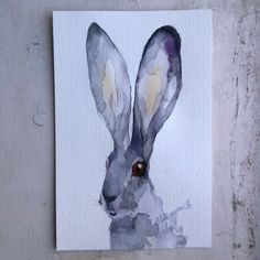 Gray Hare - original small watercolor painting. Dreamy art. Jackrabbit, cute bunny watercolour picture. Contemporary art drawing. by AlisaAdamsoneArt on Etsy https://www.etsy.com/listing/245253835/gray-hare-original-small-watercolor