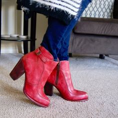 "Bedstü Vintage Red Bootie, size 8 Lovely Bootie with 3"" stacked heel. Side zip BedStu Shoes Ankle Boots & Booties"