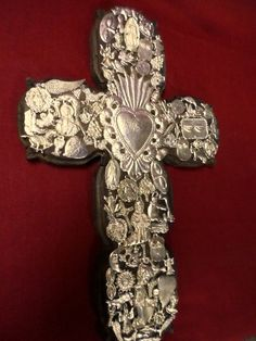 :D Large 16x10 Mexican Folk Art Carved Wood Heart Cross Milagro Miracle Ex Votos