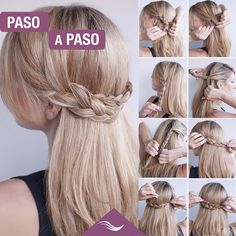 Try out the Half Crown Braid, step by step with us. For more visit:… Try out the Half Crown Braid, step by step with us. Easy Hairstyles For School, Easy Hairstyles For Medium Hair, Creative Hairstyles, Braids For Long Hair, Trendy Hairstyles, Braided Hairstyles Updo, Crown Hairstyles, Wedding Hairstyles, Braids Step By Step