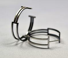 Box Hoops by Hilary Hachey (Silver Earrings) | Artful Home