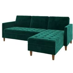 Shop modular sectional sofas with beautiful modern designs. Small Space Living, Living Room Modern, Living Room Furniture, Modern Furniture, Green Sofa, Sleeper Sectional, Tufting Buttons, All Modern, Love Seat