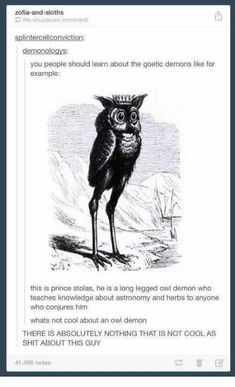 Owl demon writing prompt useful future reference