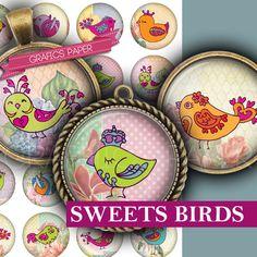 Birds Sheet digital collage sheet  td412  1.5 by GraphicsPaper
