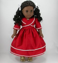 18 Inch Doll Clothes for American Girl Dolls - A Christmas Dress for Cecile