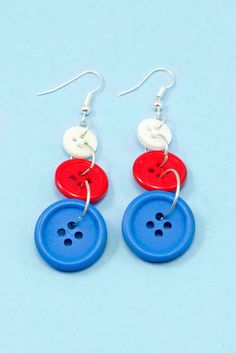DIY Fourth Of July Button Earrings via Hopeful Honey
