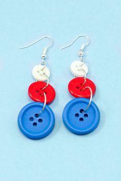 DIY Fourth Of July Button Earrings via Hopeful Honey