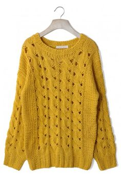 Classic Cable Knit Cut Out Sweater in Mustard