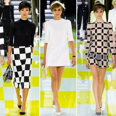Louis Vuitton Spring 2013 was ultra mod, going off the Mod fashion craze of the 1960s. The geometric modern patterns as well as short hemlines and boxy shapes are reminiscent of the 1960s.