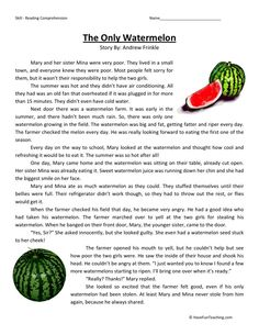 Reading Comprehension Worksheet – The Only Watermelon Third Grade Reading Comprehension Worksheets Free Reading Comprehension Worksheets, Reading Fluency, Reading Passages, Picture Comprehension, Comprehension Strategies, Reading Lessons, Reading Practice, Teaching Reading, Math Lessons
