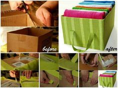 DIY Cardboard and Fabric Storage Tote