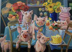 """""""Piggie Party"""" - Original Fine Art for Sale - © Joy Campbell"""