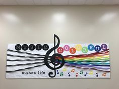 Music makes life colorful Bright rainb - Elementary Music room bulletin board. Music makes life colorful Bright rainb - Preschool Music, Teaching Music, Choir Room, Music Bulletin Boards, Music Crafts, Music Classroom, Classroom Decor, Music School, Music Lessons