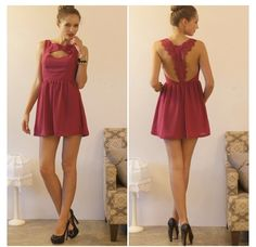 Magenta dress! Open back!