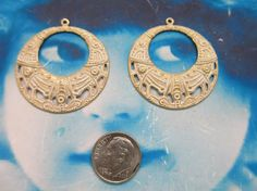 Gold Plated Frosted White Patina Brass Round Boho Hoop Stampings 972WHT x2 by dimestoreemporium on Etsy