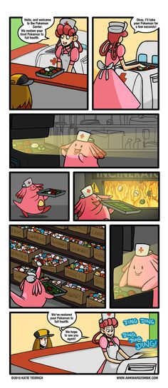 What Really Happens at a Pokemon Center, the ruin of all our dreams. THIS IS HORRIBLE