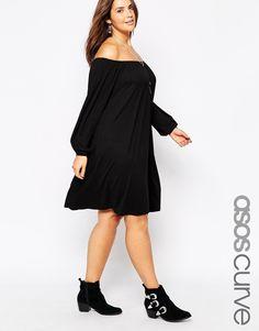ASOS CURVE Gypsy Off Shoulder Swing Dress