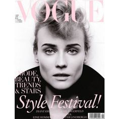 Diane Kruger Vogue Germany April 2010 ❤ liked on Polyvore featuring backgrounds, models, covers, people and magazine
