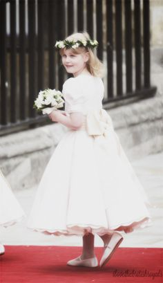 Lady Louise Windsor, daughter of Prince Edward and Sophie, as bridesmaid in the wedding of HRH Prince William, Duke of Cambridge, and Catherine Middleton.