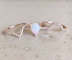 Fire Opal Engagement Ring Rose Gold Opal Engagement by Belesas
