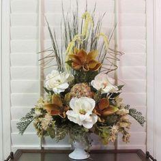TUSCAN,NATURAL,SILK,FLOWER,ARRANGEMENT,FLORAL,TAUPE MAGNOLIA & CRYSTAL DECO BALL | eBay