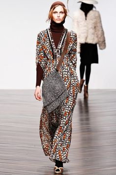 1970s Style Printed Maxi Dress #BestPiece  1970s Style Fashion Trends for Fall Winter 2013.  Issa Fall Winter 2013.  Day 2 London Fashion Week.#LFW