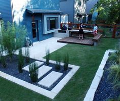 Decorating Ideas - A Tabletop Fire And Hot Tub Gorgeous Modern Backyard Design. Swing In The Modern Backyard Alluring Modern Backyard Design. Wooden And Concrete Stairs In Enchanting Modern Backyard Design. Modern Backyard Design Tagged at homedepot. Narrow Backyard Ideas, Small Backyard Landscaping, Modern Landscaping, Backyard Patio, Landscaping Ideas, Backyard Privacy, Patio Ideas, Garden Ideas, Porch Ideas