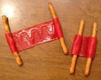 Snack idea for Josiah Bible Lesson. (When Josiah was king, he ordered that God's house be repaired. The priest Hilkiah found the Book of the Law when this happened.) Needed: pretzel sticks, fruit roll-ups. Bible Story Crafts, Bible Crafts For Kids, Preschool Bible, Bible Lessons For Kids, Bible Activities, Kids Bible, Bible Stories, Children's Bible, Bible Food