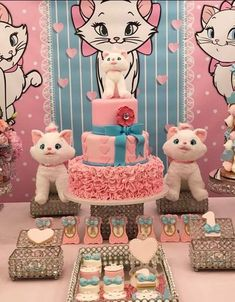 Aristocats Pretty Kitty Birthday Party - Birthday Party Ideas for Kids and Adults Hello Kitty Cake, Hello Kitty Birthday, Cat Birthday, 3rd Birthday Parties, Birthday Party Decorations, Birthday Ideas, Pretty Cats, Pretty Kitty, Aristocats Party