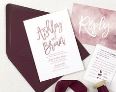 burgundy wedding invitations, burgundy and dusty rose wedding invitations, mauve wedding invitation, marsala wedding invitation, modern printed invitations